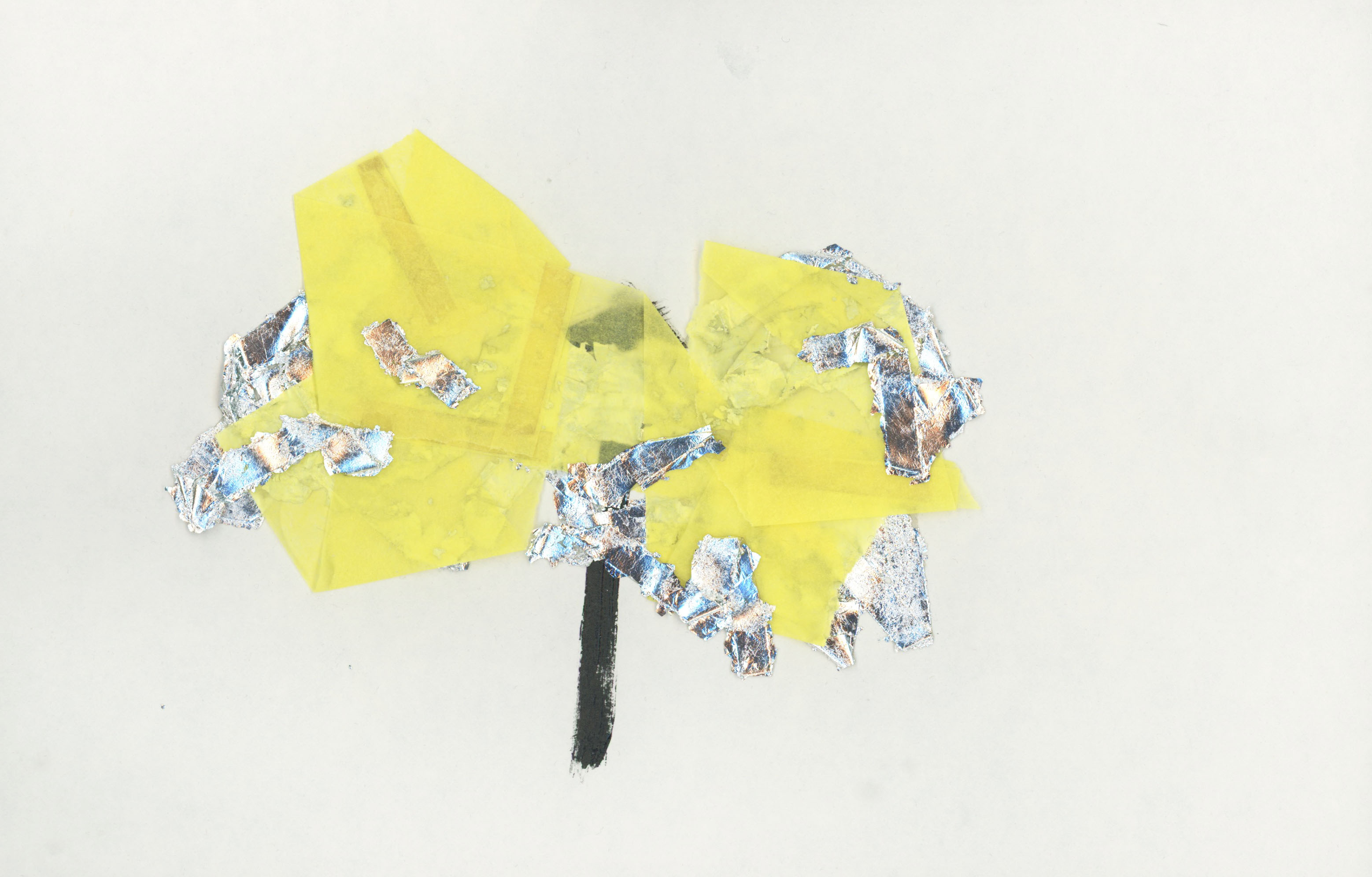 23. Gilding flakes, double sided tape, tissue and enamel on paper. 28 x 18cm