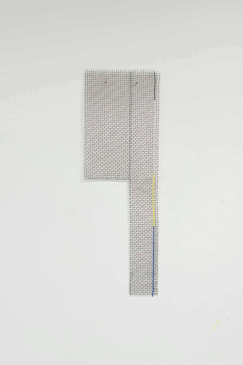 Steel mesh and shrink plastic. 60 x 20 x 2cm