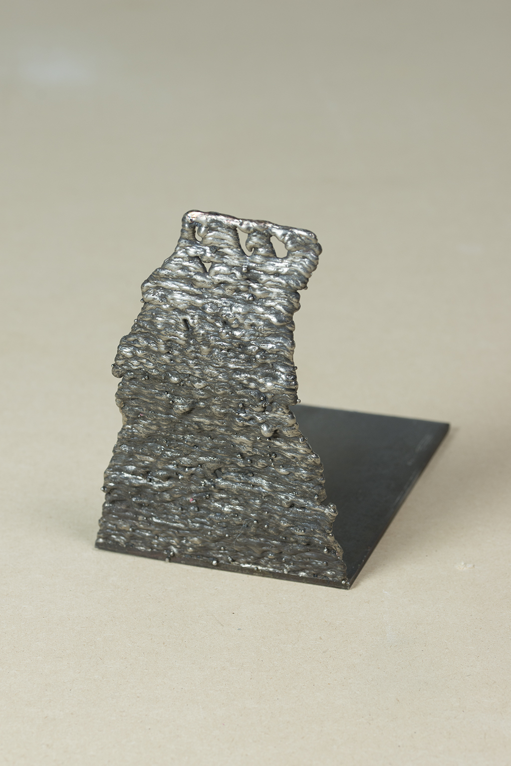 Mild steel, stainless steel weld. 23cm x 23cm x 15.5cm