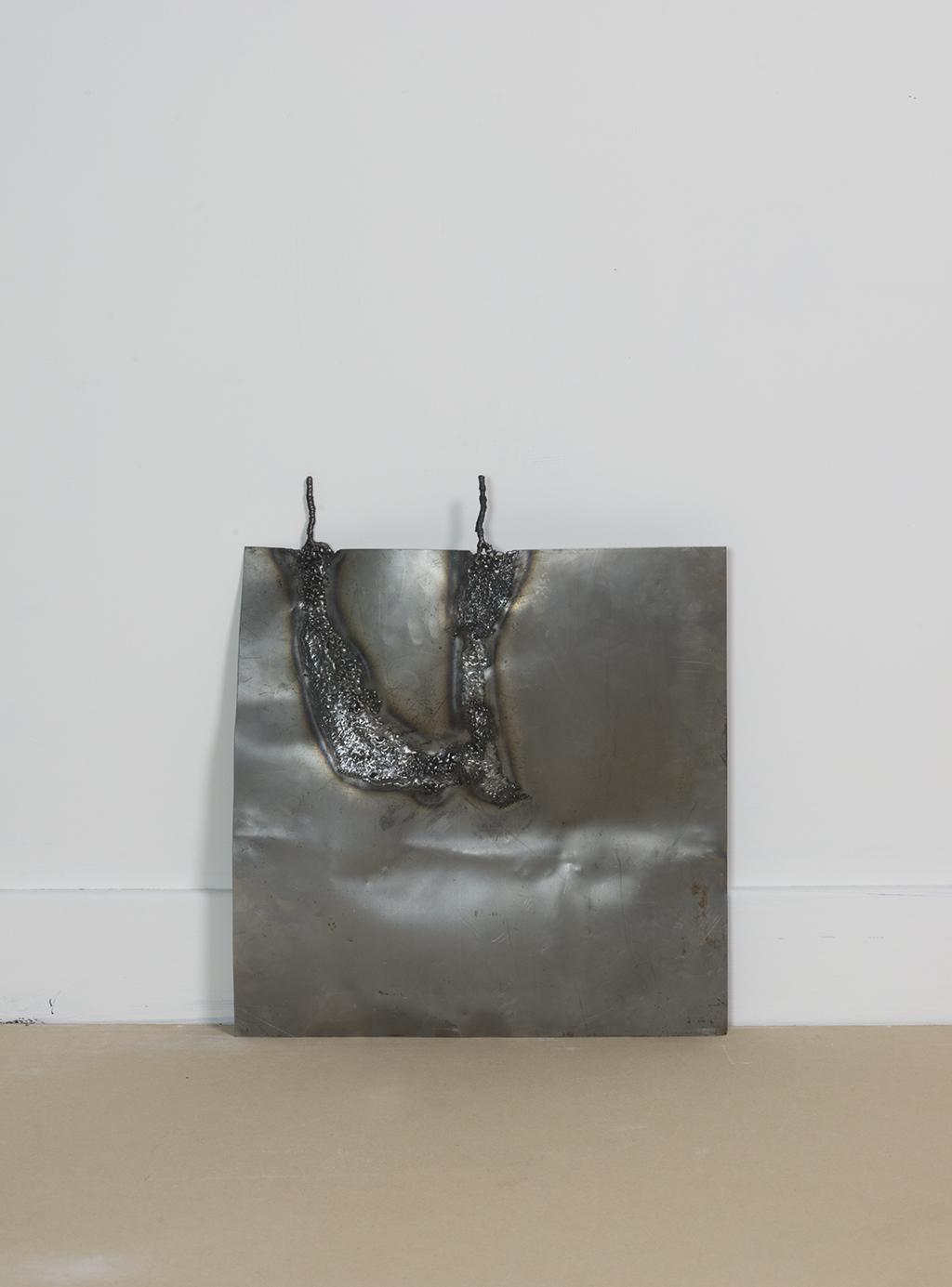 Mild steel and stainless steel weld. 55cm x 40cm x 7 cm.