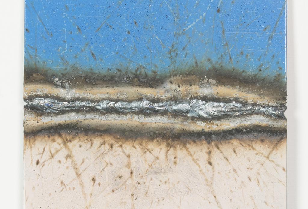 Mild steel sheet, mild steel weld, gloss paint. 25cm x 15cm x 0.3cm