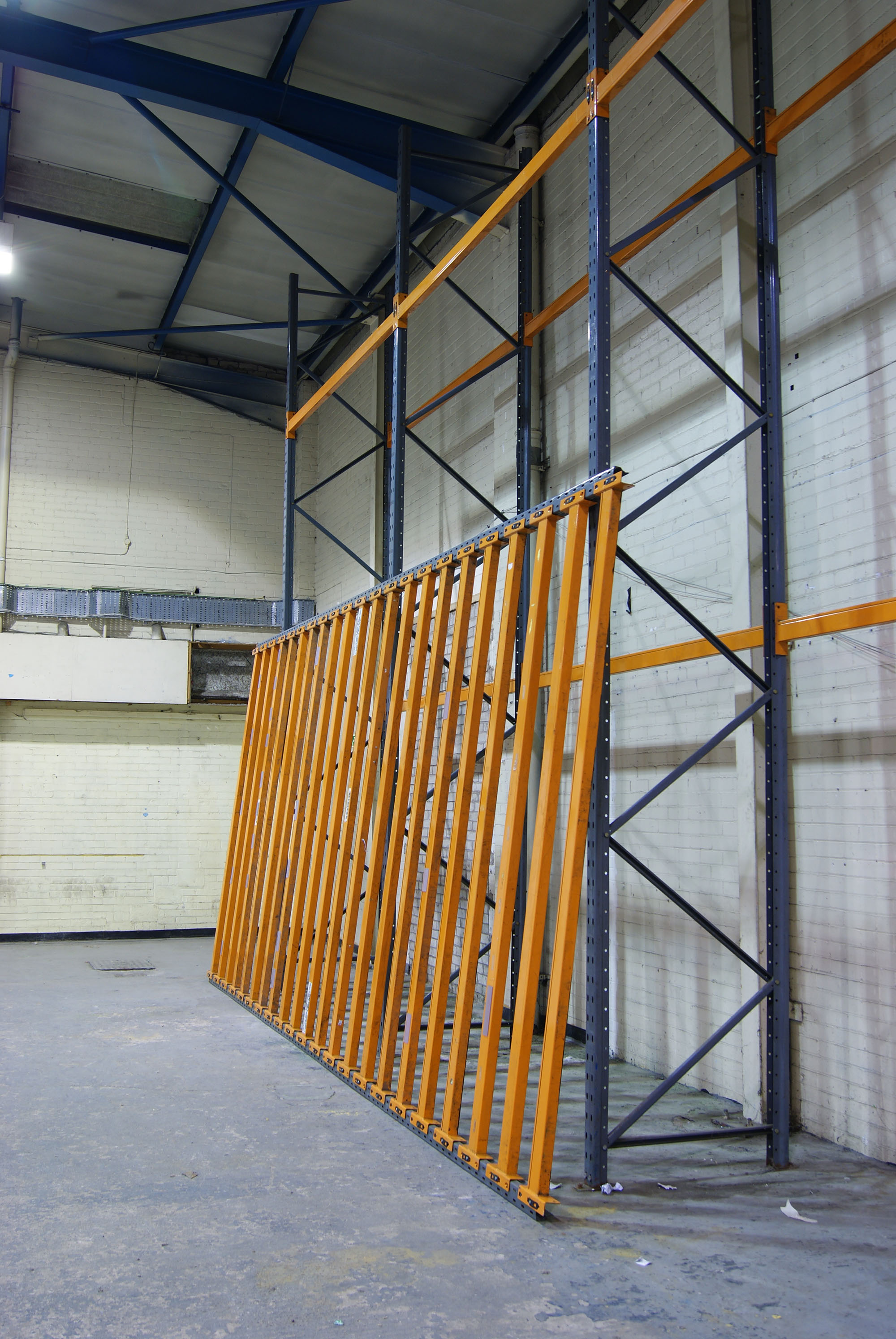 Powder coated steel racking. Site specific installation at Caustic Coastal. Approx 12 x 6 x 2m,