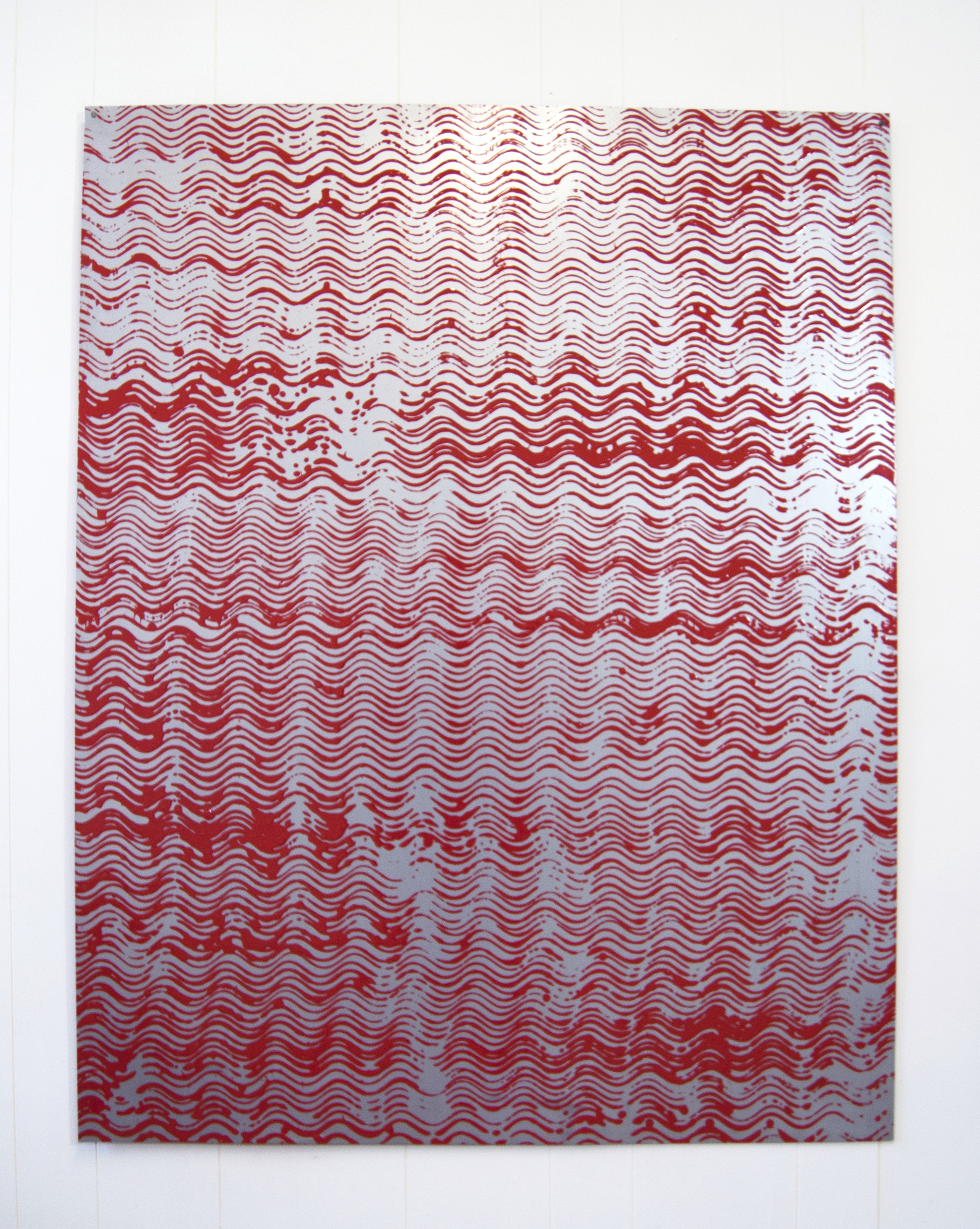 Stamped all over Red. Stamped all over black. Mild steel sheet and farm machinery enamel. 128 x 100 x 0.01cm