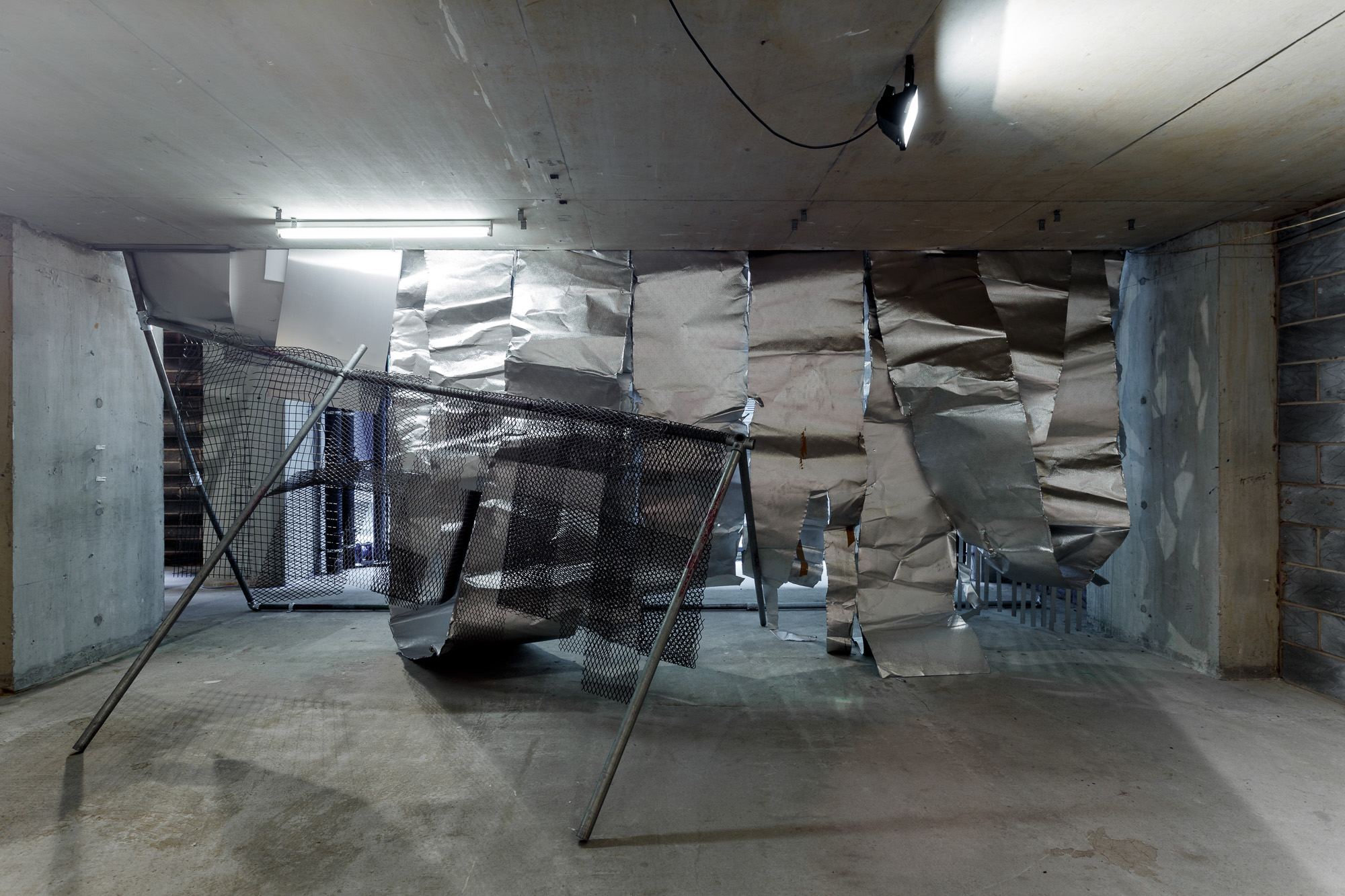 Custom Folds. Mild steel and aluminium. Site responsive installation at The Great Medical Disaster. 5m x 6m x 4m Approx. 2017. Image credits: Jules Lister