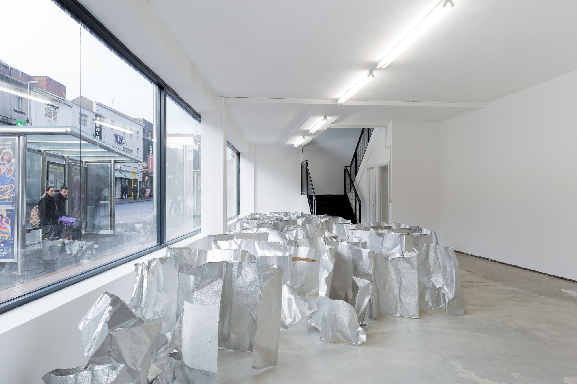 Aluminium stucco. 80 x 50 x 100cm. Dimensions variable. Installation at ICW Blackpool. Image credits: Jules Lister