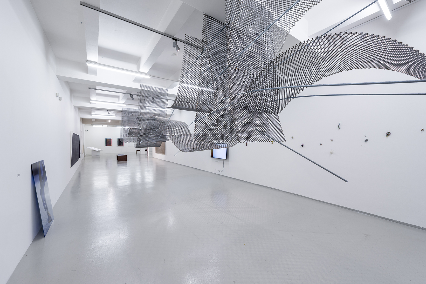 1 x 2m sheets of stainless steel expanded mesh and galvanised threaded poles. Overall dimensions 1 x 2 x 15m. DOX Gallery Prague.