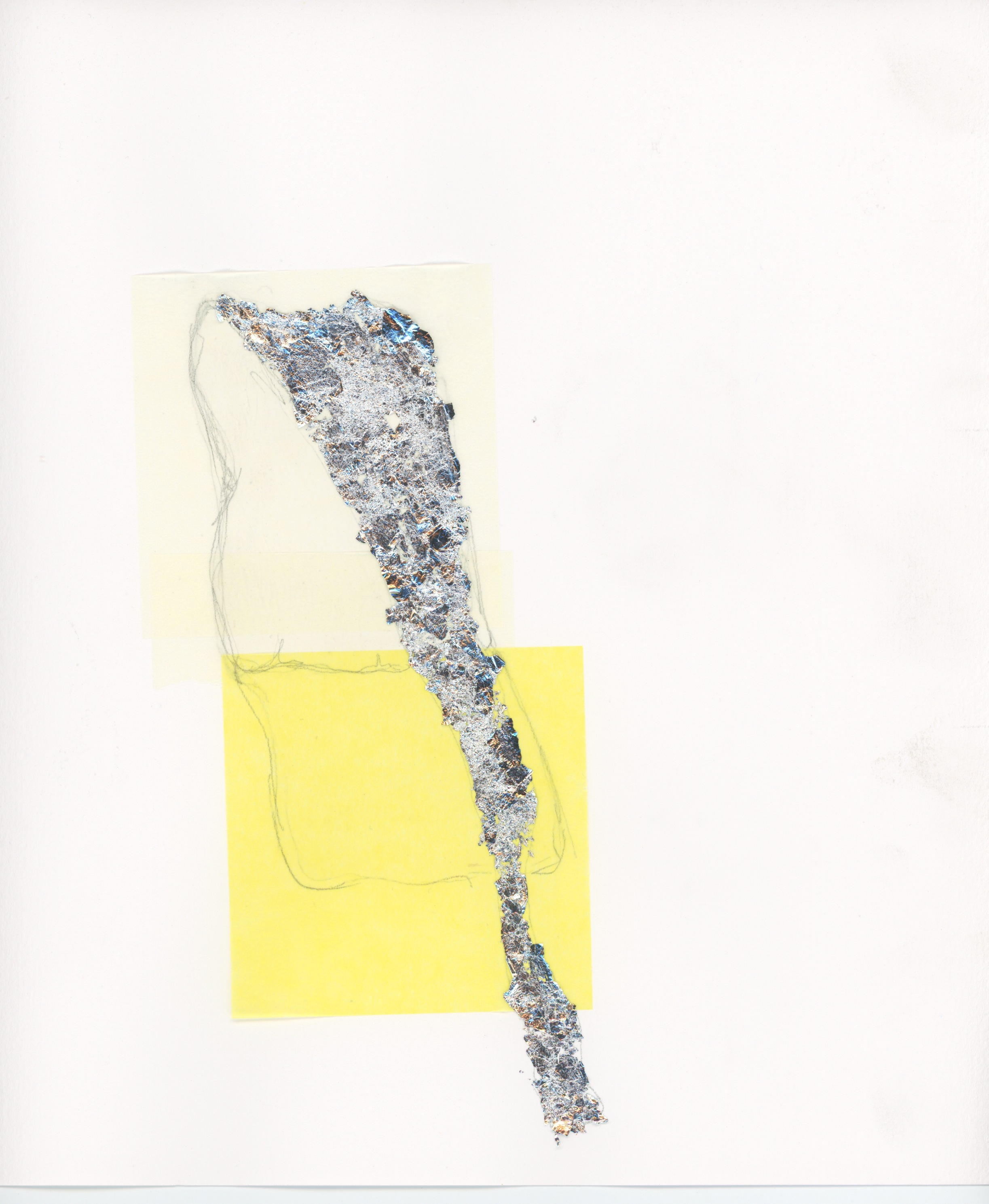 12. Tissue, gilding flakes and pencil on paper. 25 x 25cm